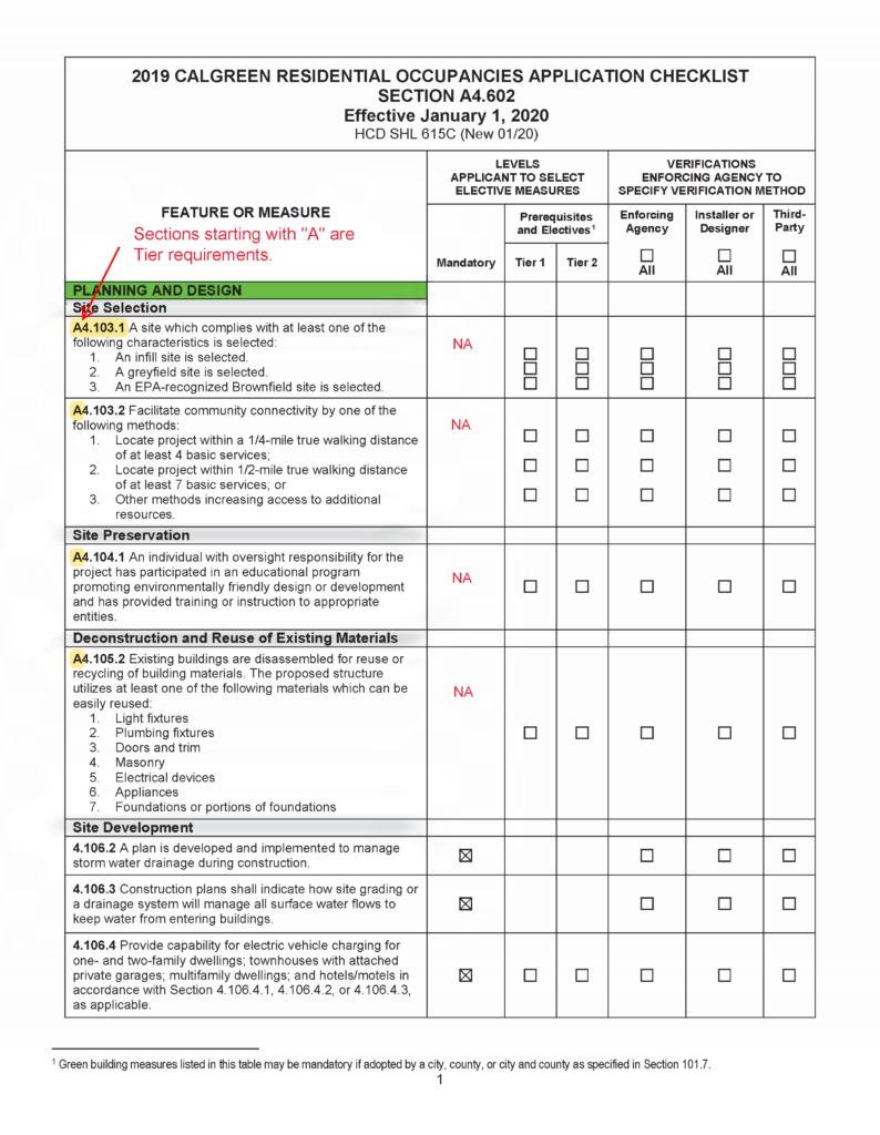 2019 HCD CalGreen Checklist