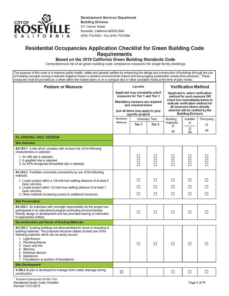 Roseville 2019 CalGreen Checklist