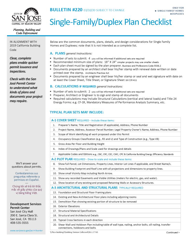 2019 Residential Plan Checklist