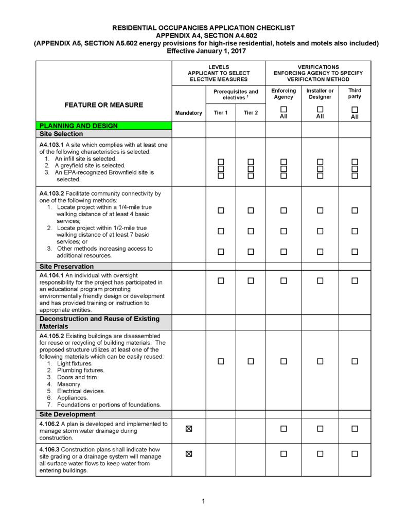 Calaveras County CalGreen Checklist