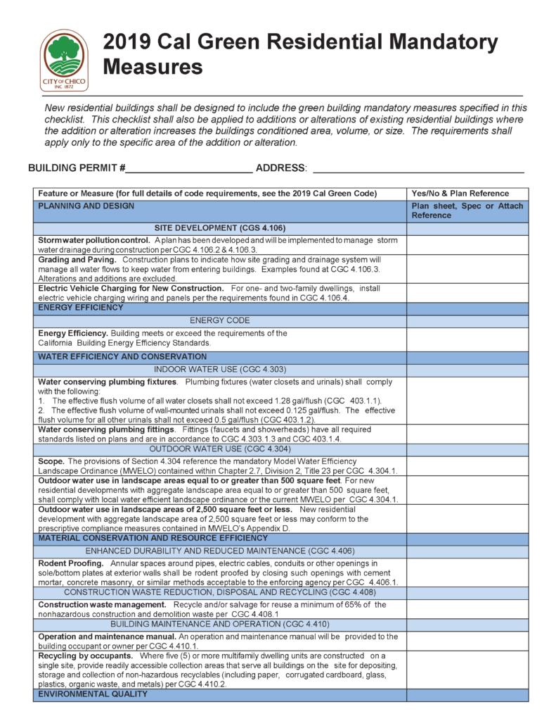 Chico CalGreen Residential Checklist