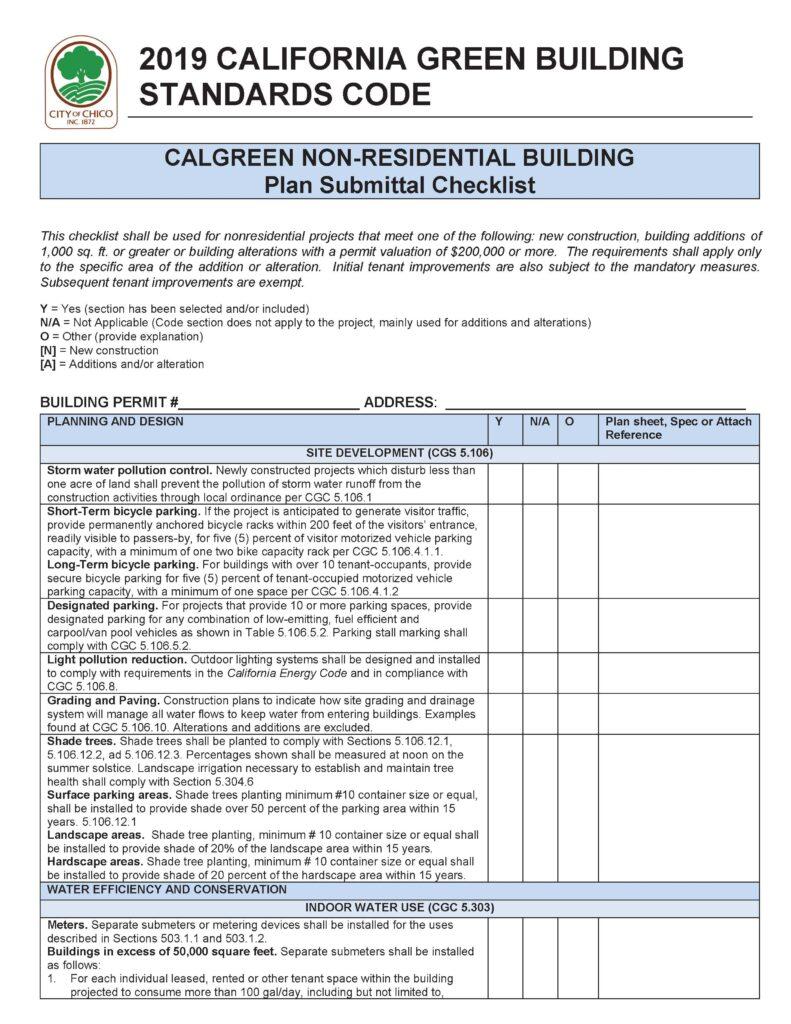 Chico Non-Residential Checklist