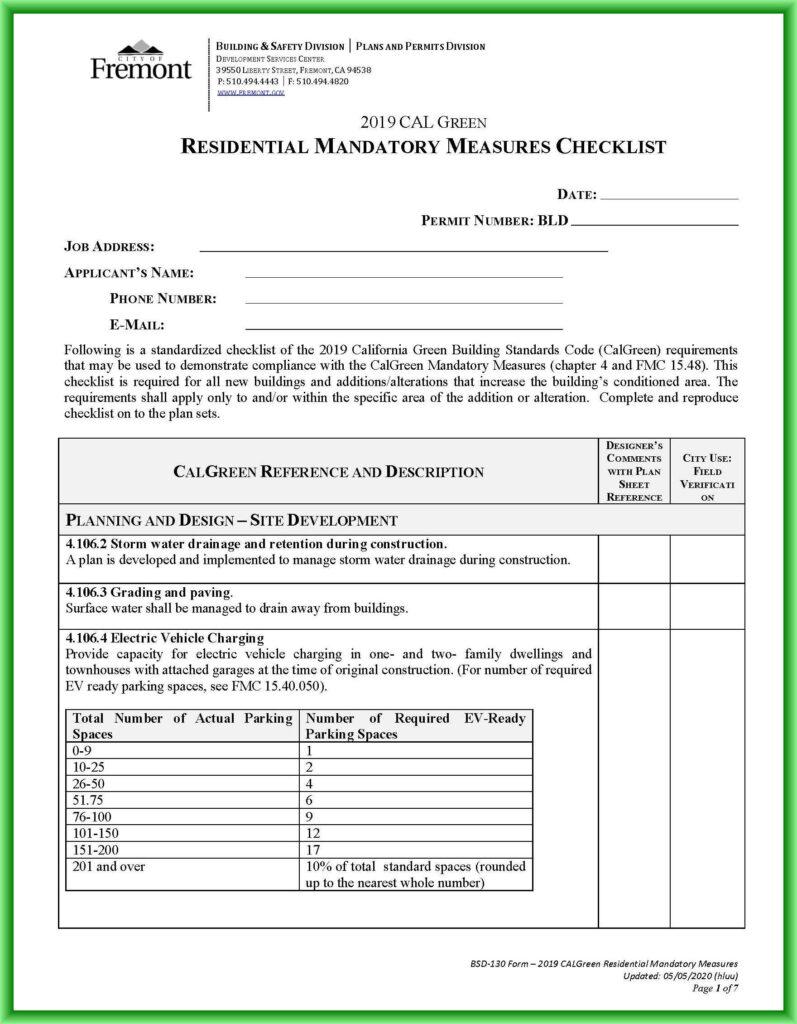 Fremont CalGreen Checklist
