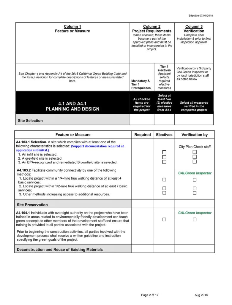CalGreen Residential Checklist